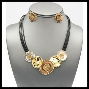 Leather and Mixed Metal Necklace Set!